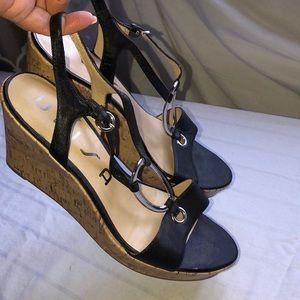 Unisa black leather wedge sandals- size 10